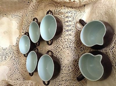 7 pc FRANCISCAN WARE Handled Soup Bowls & Jugs ROBINS EGG BLUE w/ BROWN EXTERIOR