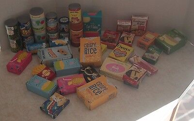 Vintage Lot 38 Piece Pretend Play Can Box Goods Cake Mix