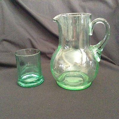 GUEST SET Green DEPRESSION GLASS Jug Pitcher w/ Tumbler Set PANELLED 3 pt mould