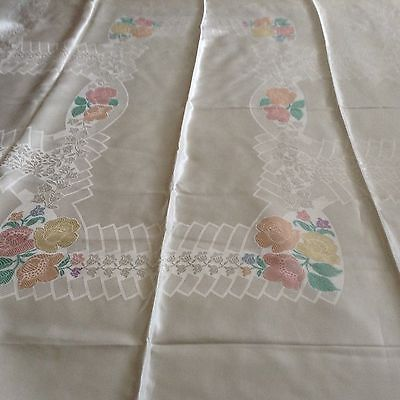 """NWOT NOS Vintage TABLECLOTH 69x52""""  LOVELY! Painted flowers on Ivory"""
