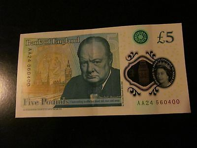 Aa24 560400 Bank Of England Polymer £5 Five Pound Note. Genuine New Note.