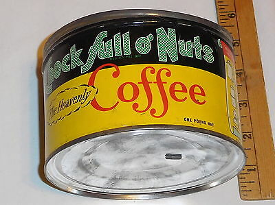 vintage Chock Full O' Nuts The Heavenly Coffee EMPTY Tin can one pound size