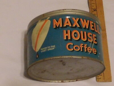 vintage Maxwell Coffee EMPTY tin can No Lid one pound weight