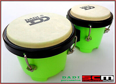 "Dadi 4½"" & 5"" Green Mini Bongo Drums Tuneable Natural Skins Plastic Shells New"