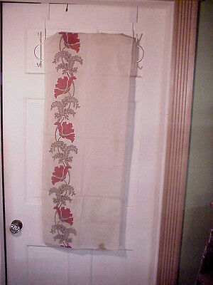 Period Antique Linen Hand Blocked Fabric Red Popies Art Noveau