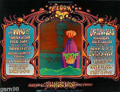 The Who Dead Creedence QMS  BG Fillmore Concert Handbill 1968 Rick Griffin