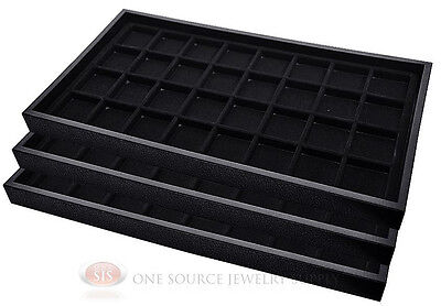 (3) Black Plastic Stackable Trays w/32 Compartments Black Jewelry Display Insert