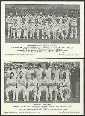 GLAMORGAN CC & MIDDLESEX CC 1977 CRICKET TEAM PHOTOGRAPHS - Double Sided -