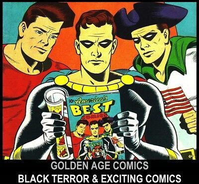 Golden Age STANDARD BETTER NEDOR BLACK TERROR EXCITING COMICS DVD Old Book lot 1