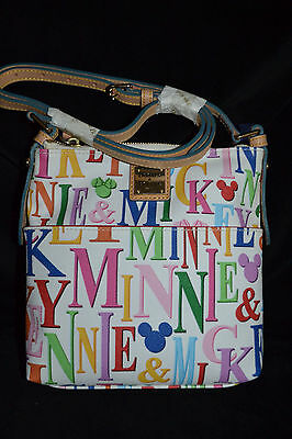 Disney Dooney & Bourke Mickey & Minnie Rainbow Letter Carrier Crossbody Bag NWT