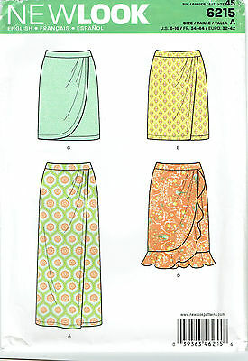 SKIRT 'Faux' WRAP STYLE ~ NEW LOOK SEWING PATTERN 6215 ~   Sizes 6 to 16 *UNCUT*