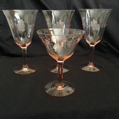 "4 PINK DEPRESSION GLASSES Etched Stemware 3x6.5"" one pattern + 1-5"" 2nd pattern"