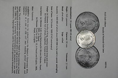 Nepal 10 Rupees 1968 Silver Fao With Paperwork A60 Cg40 - 3