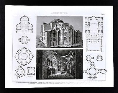 1874 Bilder Print Byzantine Architecture Church of Hagia Sophia Istanbul Turkey