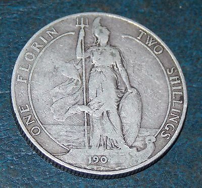 1904 Edward Vii Sterling Silver Florin Two Shillings Coin Very Nice Condition