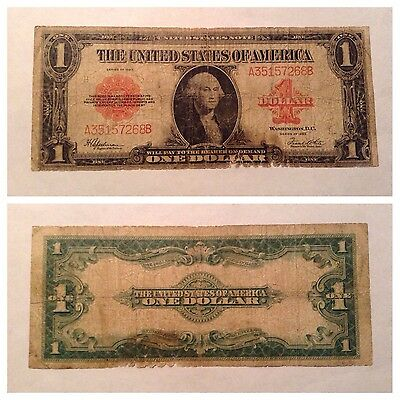 Vintage $1 1923 United States Note One Dollar Speelman White Red Seal Large Bill
