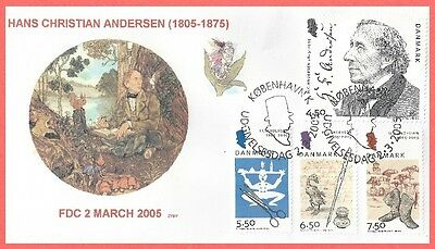 Denmark 2005 1323-6 Christian Andersen Child Book Fairy Tales Writer Fdc Zyby
