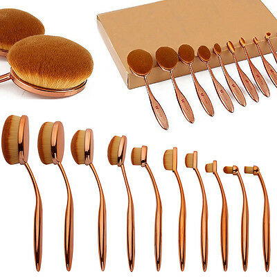 10Pcs PRO Elite Toothbrush Oval Make up Brushes Set Powder Foundation Contour