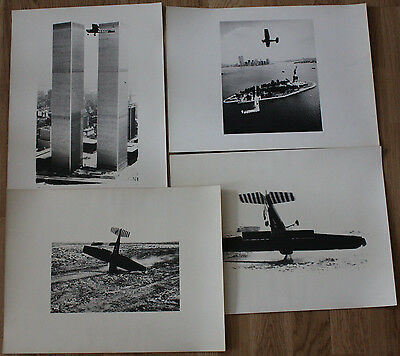 H.A. Schult 1977 4 Vintage Prints Flug über NYC WorldTrade Towers Twin Towers