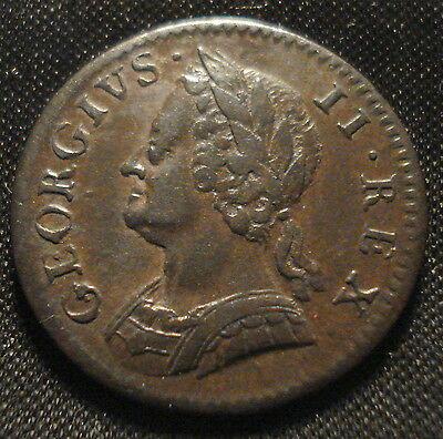 High Grade 1754 George Ii Farthing Very Good Detail Rare In This Condition