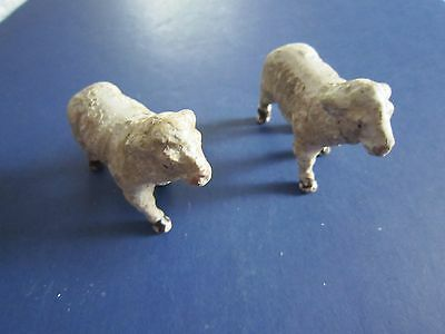 Vintage BISQUE Porcelain Hand Painted SHEEP FIGURINES  Made in Japan c1930-40's