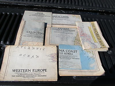 Vintage Lot Of Maps National Geographic 7 Maps 1940's- 1950's Different Maps