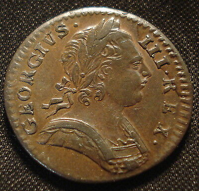 High Grade 1774 George Iii Farthing Very Good Detail