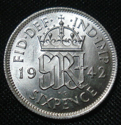 Excellent 1942 George Vi Silver Sixpence Brilliant Uncirculated Condition