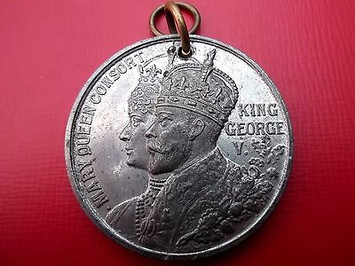 BASE METAL 38mm GEORGE V AND MARY CORONATION MEDAL FOR EAST RETFORD 1911 BELOW