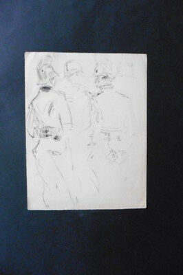FRENCH SCHOOL 19thC - FIGURE STUDIES MILITRAY MEN - INK DRAWING