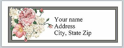Personalized Return Address Labels Roses Buy 3 get 1 free (C846)