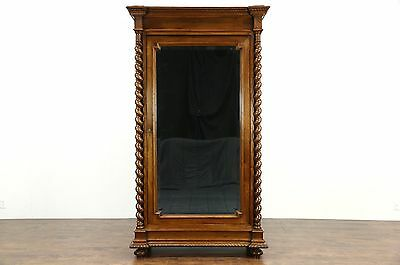 Classical Italian Antique Walnut Armoire, Wardrobe or Closet, Beveled Mirror