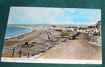 The Beach Looking North. Borth.  Postcard