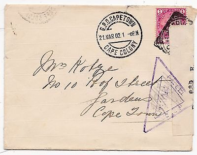 1902 Cogh Boer War Censored Cover + Opened Under Martial Label To Cape Town