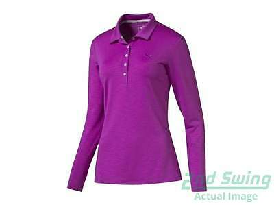 Womens Puma Golf Long Sleeve Polo Small S Purple Cactus Flower MSRP $70