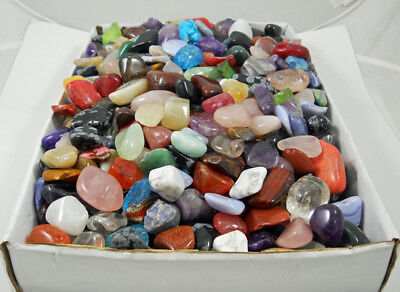 1 FULL LB IMPERFECT TUMBLED STONES Flaws Chips Cracks Crystal Mineral Gemstones