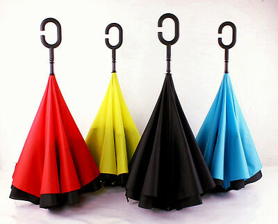 Smart Design Double Layer Inverted Reversible Umbrella Windproof Stay Dry UV Pro