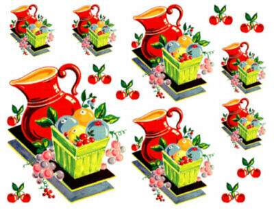 Vintage Image Retro 40s 50s Kitchen Housewife Dishes Waterslide Decals KI415