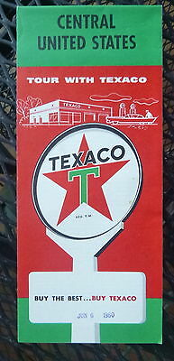 1959 Central United States  road  map Texaco  oil gas route 66