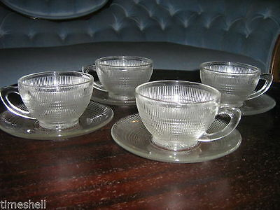 SAGUENAY Canadian DEPRESSION GLASS 4 CUPS & SAUCERS