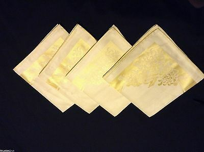 NWOT LOVELY 4 Yellow DOUBLE DAMASK  NAPKINS 15 in sq CHRYSANTHEMUMS unused