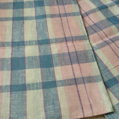 NWOT Lovely LINEN Banquet size TABLECLOTH Pink Blue Purple White PLAID 97x55.5""