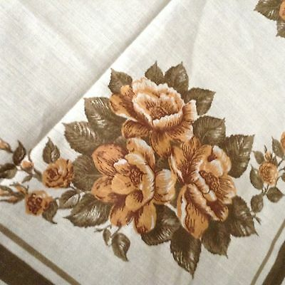 "NWOT NOS Vintage LINEN TABLECLOTH Roses 84x62"" LOVELY! Tan Gold Khaki on Ivory"