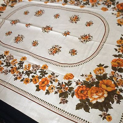 """NWOT Vintage LINEN TABLECLOTH 67x52""""  LOVELY! roses and flowers"""