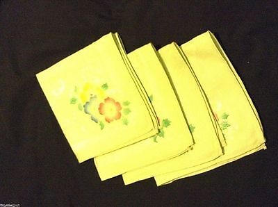 4 Lovely DOUBLE DAMASK NAPKINS Green w/ Handpainted Flowers 14.5 in sq