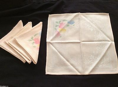 4 Lovely DOUBLE DAMASK NAPKINS Peach w/ Handpainted Flowers 11.5 in sq