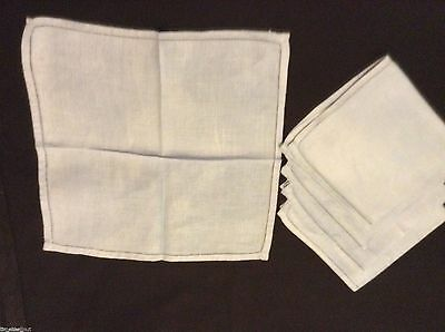 5 Lovely Wedgwood Blue LINEN NAPKINS 11.75x12 in Nice Condition OPENWORK HEMS