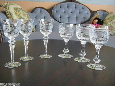 6 LAUSITZER Stemmed GLASSES Labels Attached 24% LEAD CRYSTAL Excellent Condition