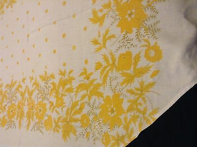 Lovely LINEN TABLECLOTH 63x46 in Floral Motif GENTLY USED Flowers for OVAL TABLE
