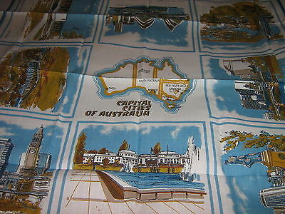 Lovely MAP & CAPITAL CITIES of AUSTRALIA  TABLECLOTH 53X53.5in NWOT Blue & White
